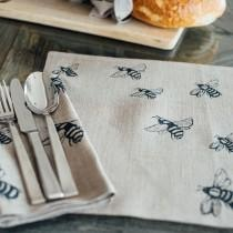 Honey Bee design- Pure linen place mats, made in the UK