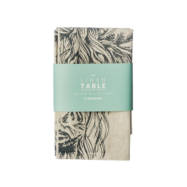 Linen Cotton Napkins- Beautiful Etched Drawings Produced In Scotland