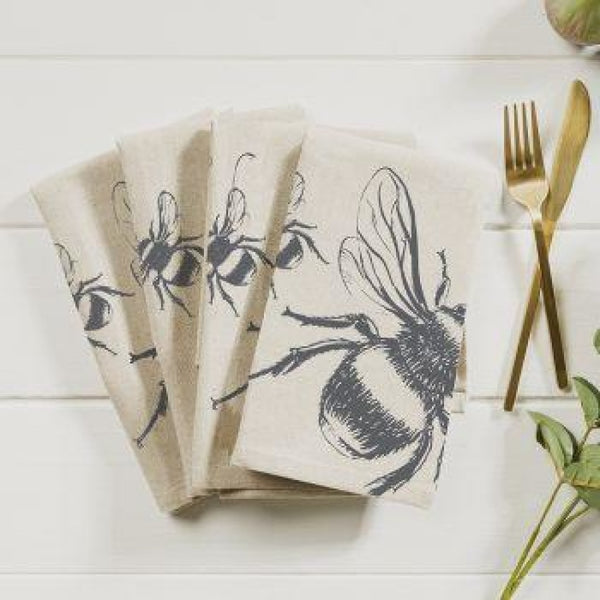 Linen Cotton Napkins- Beautiful Etched Drawings Produced In Scotland Bee