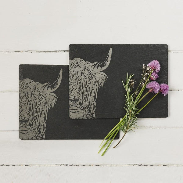 Scottish Etched Slate Table Mats Pack of Two- Stags or Highland Cows
