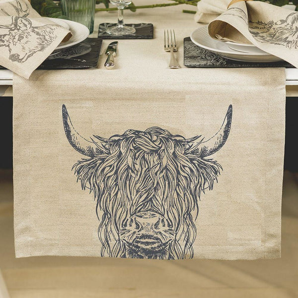 Scottish linen table runners- Highland Cow