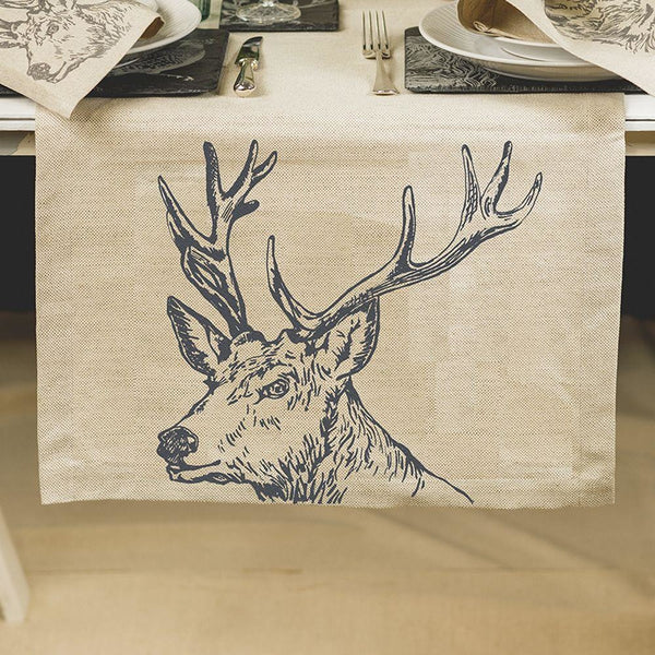 Scottish linen Table runners- Stag Design