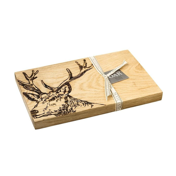 Scottish Oak Serving Boards with Etched Stags , Highland Cows or Bees