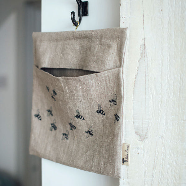 Honey Bee design pure linen peg bag made in the UK