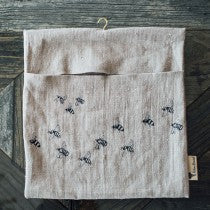 Peg Bag in pure linen Honey Bee design- 100% linen made in the UK