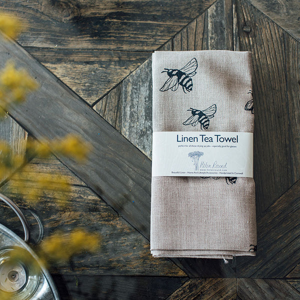 Honey Bee Collection- 100% Linen Tea Towel made in the UK
