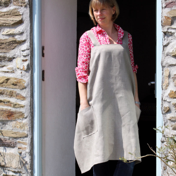 Hand Printed Linen Apron- Made in Cornwall 100% Linen