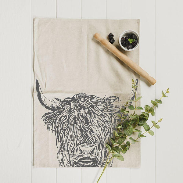Scottish Linen With Cotton Tea Towels Highland Cow Or Stag Etched Drawings