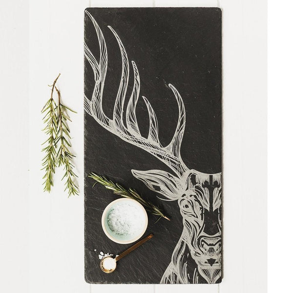 Slate Table Runner- Scottish Etched Slate Handsome Stag Centre Piece