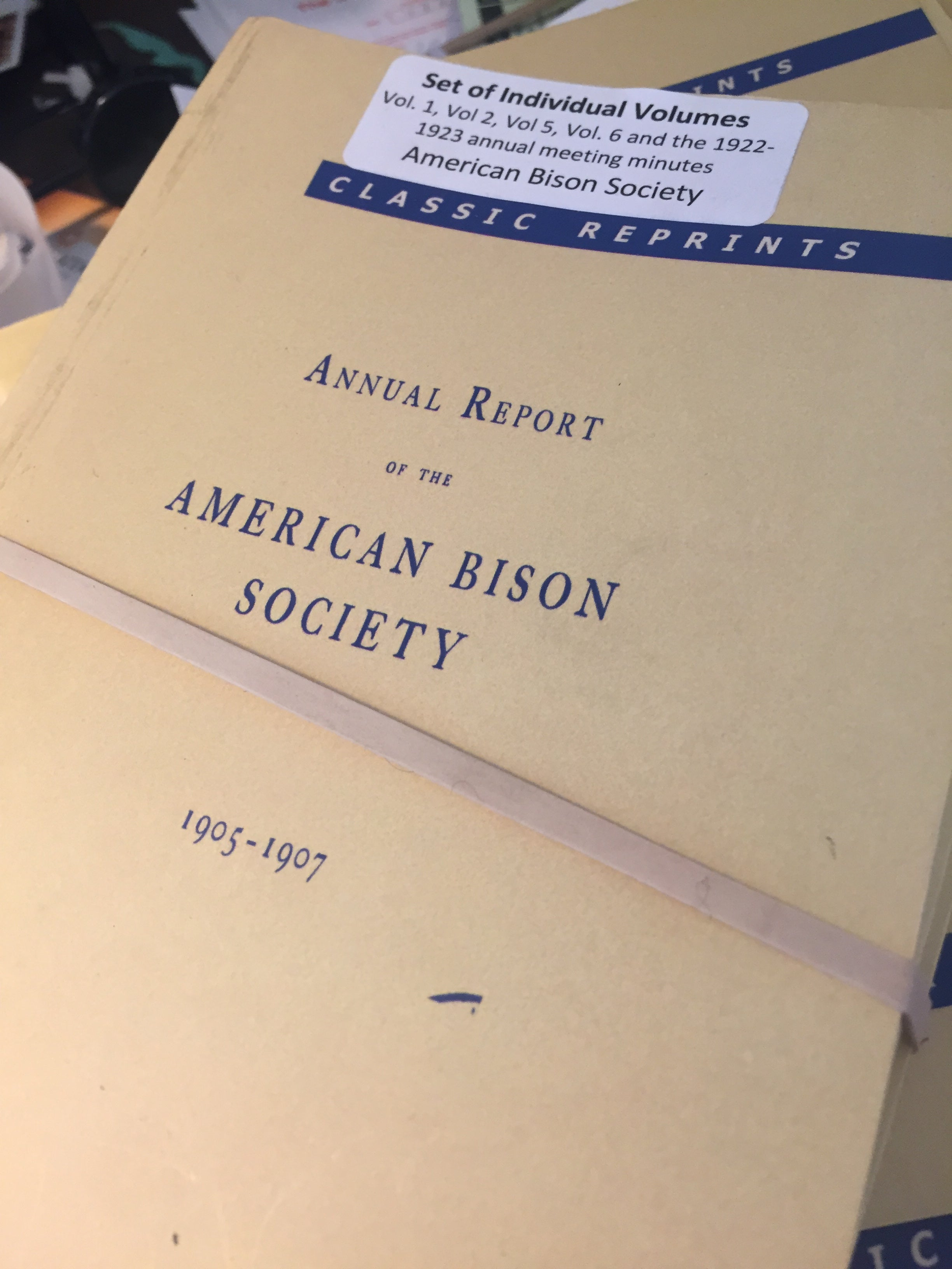 BOOKS - Annual Report of the American Bison Society - sets of individual volumes 1, 2, 5 and 1922-23