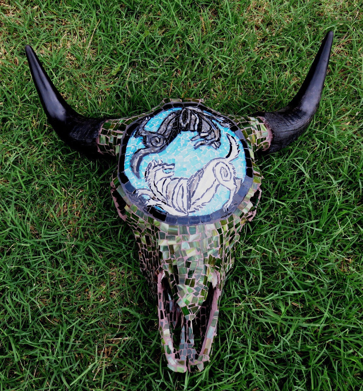 """Balance - Bison and Wolves"" Mosaic Skull"