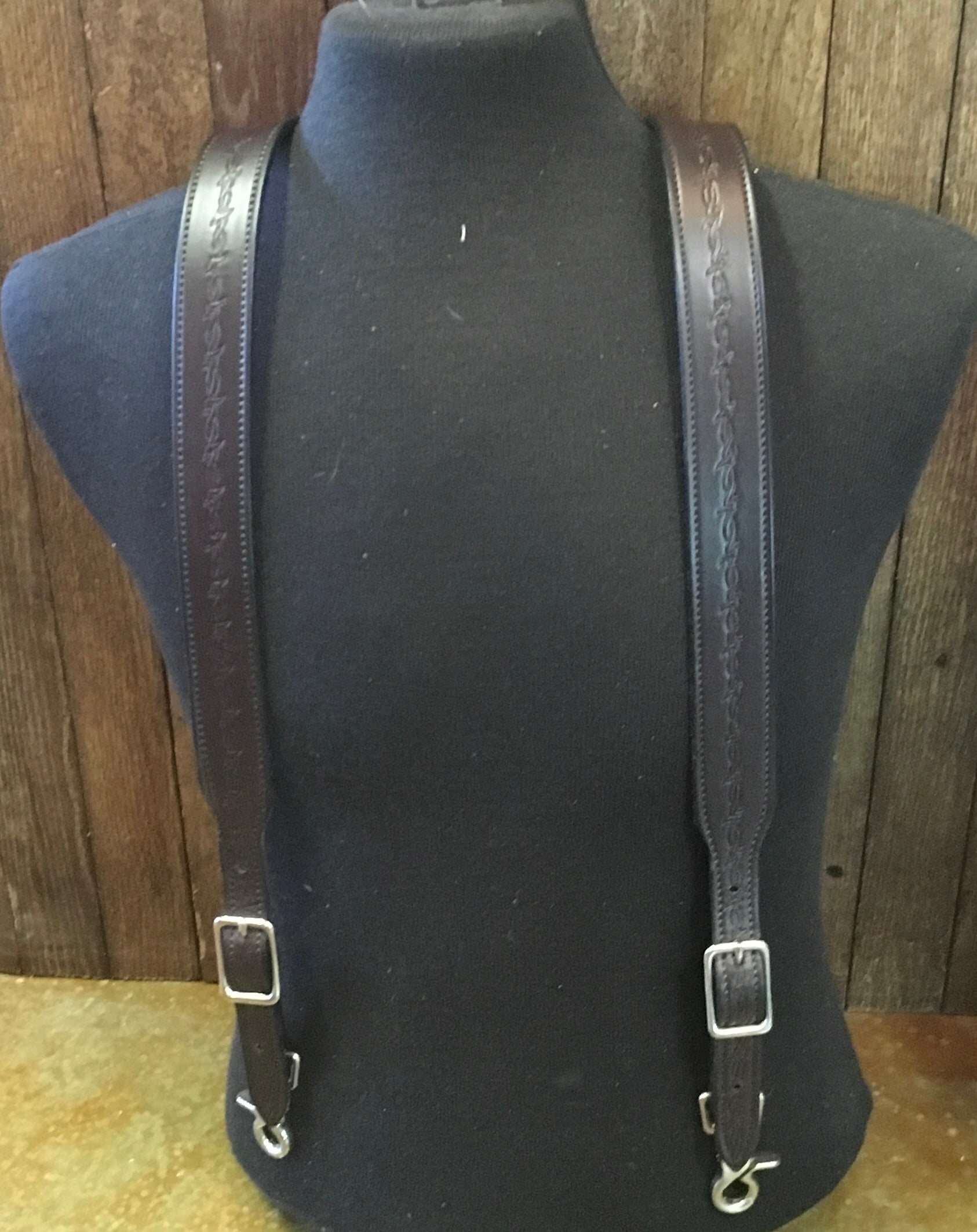 """Barb Wire"" Saddle Leather Suspenders"