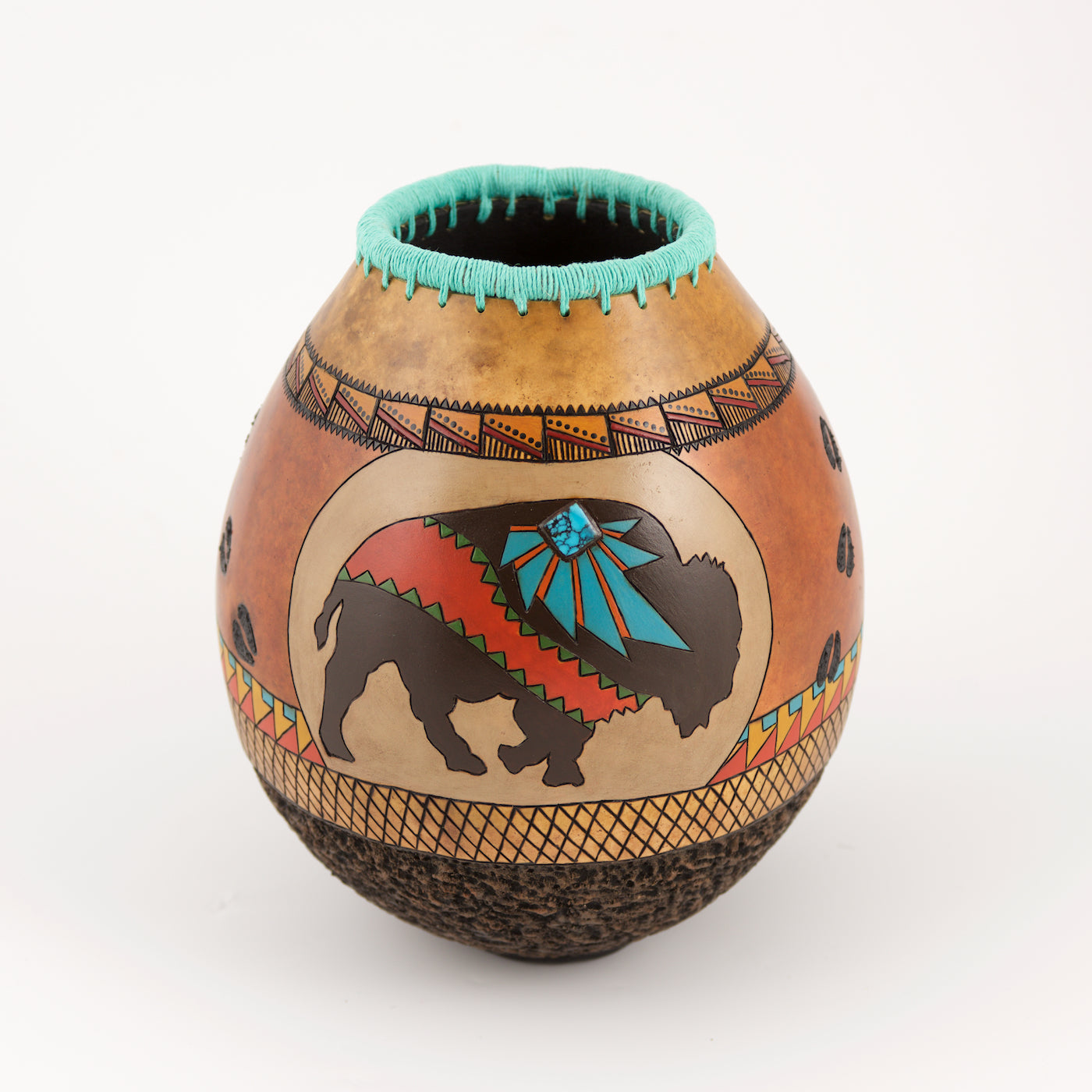 Hand painted, hand crafted gourd art by Andi Wardlaw