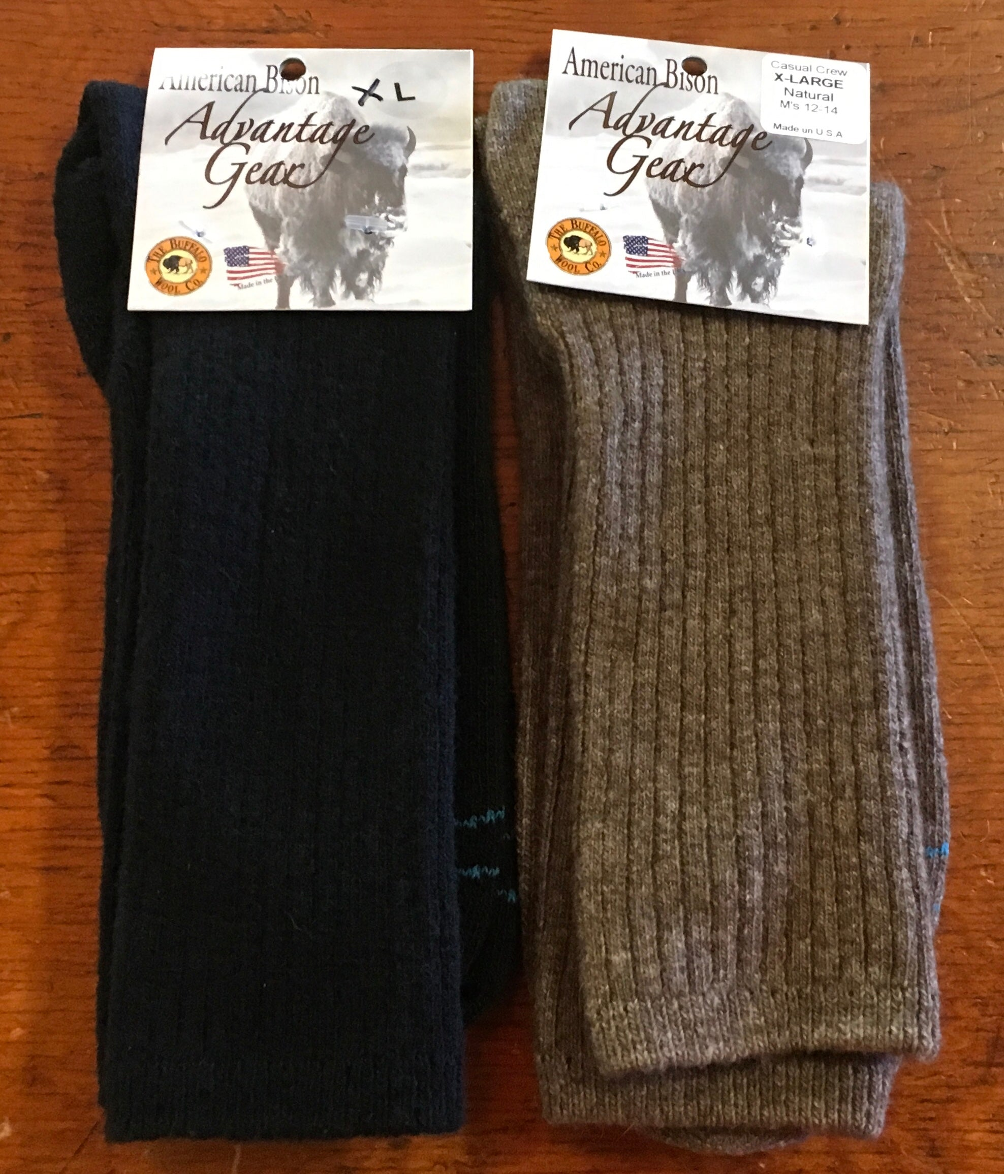 Advantage Gear Casual Crew Bison/Merino Socks