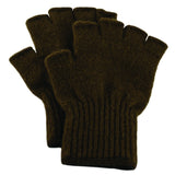 Bison Down Fingerless Gloves, Natural Brown