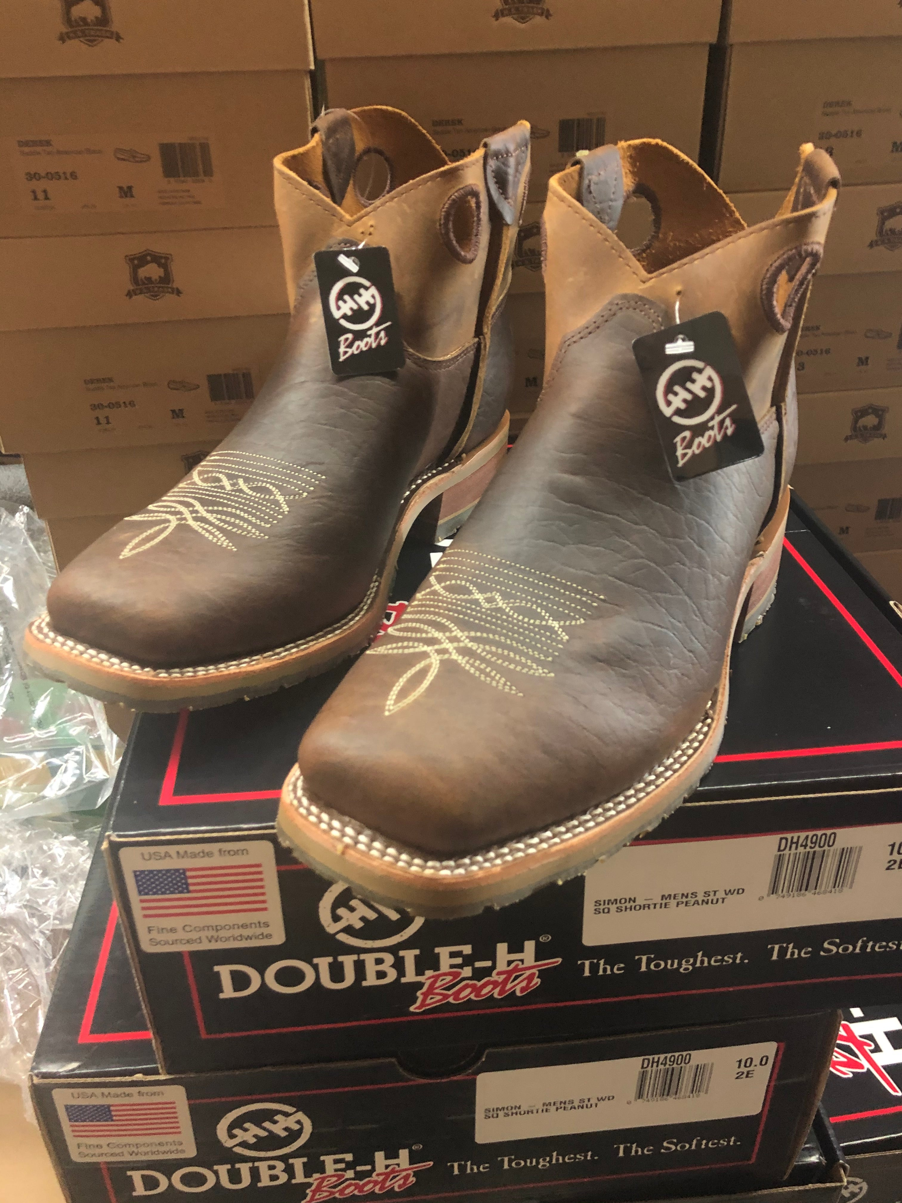"Double H Boot - Steel Toe ""Simon"" bison leather shorty boot"