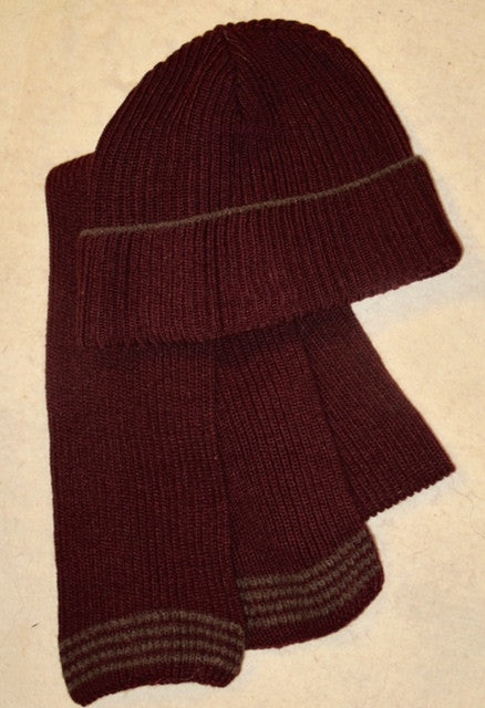 """Limited Edition"" Fisher Beanie/Scarf Set in Pure Claret"