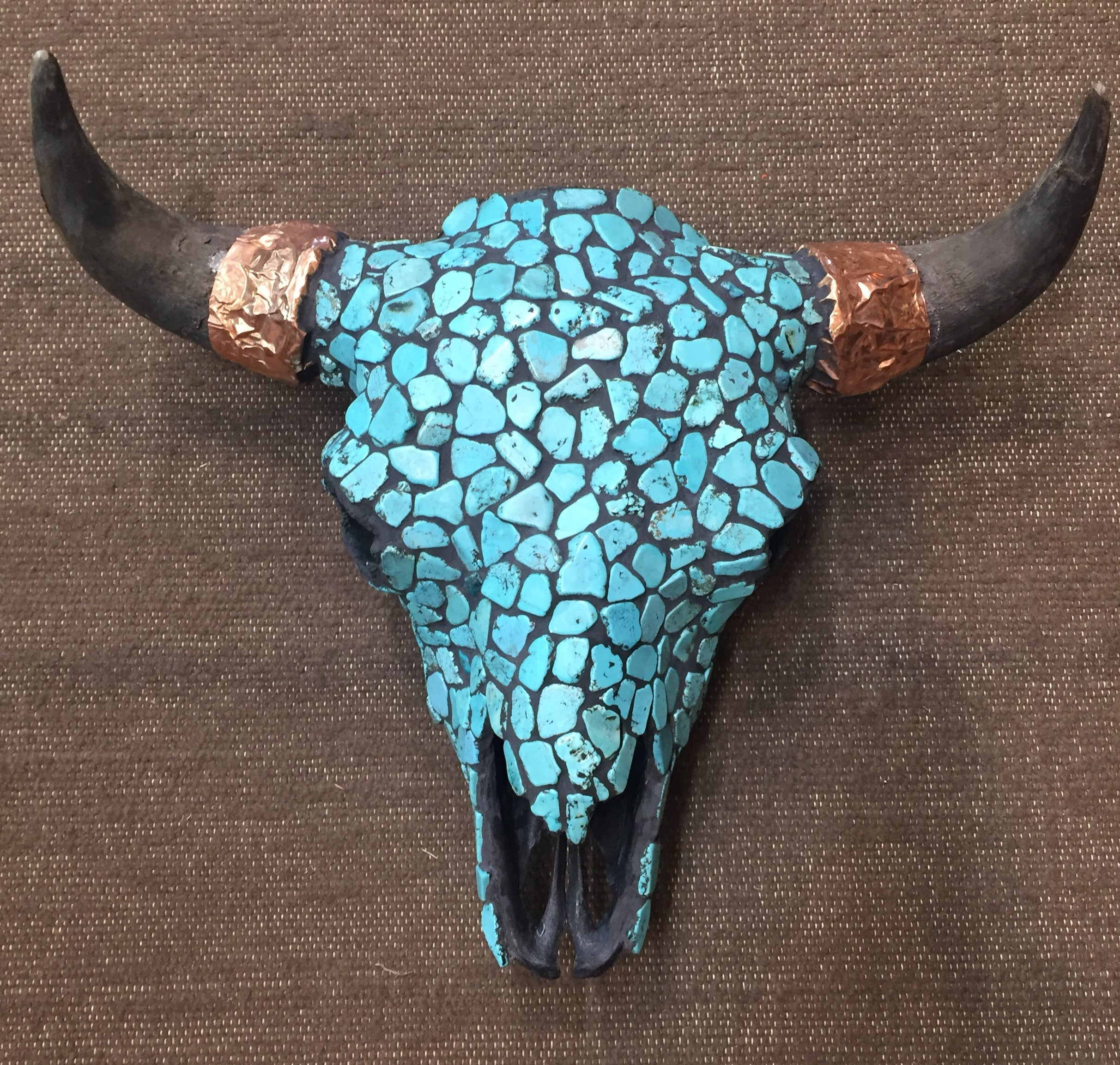 White or Blue Buffalo Turquoise faced bison bull skulls