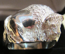 Sterling Silver Bison Ring