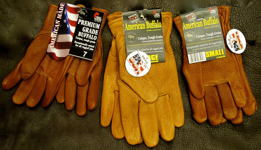 American made bison leather work gloves