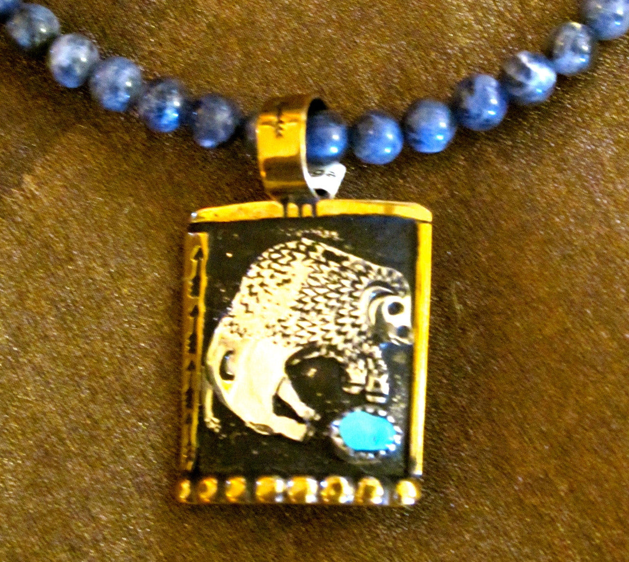 Sterling Silver Bison / Buffalo and Lapis Necklace