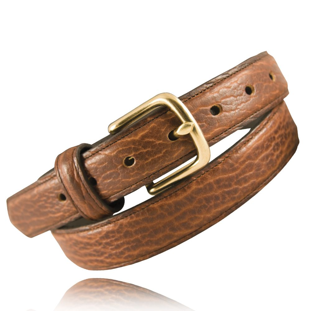 Feathered Edge Bison Leather Dress Belt Boston leather