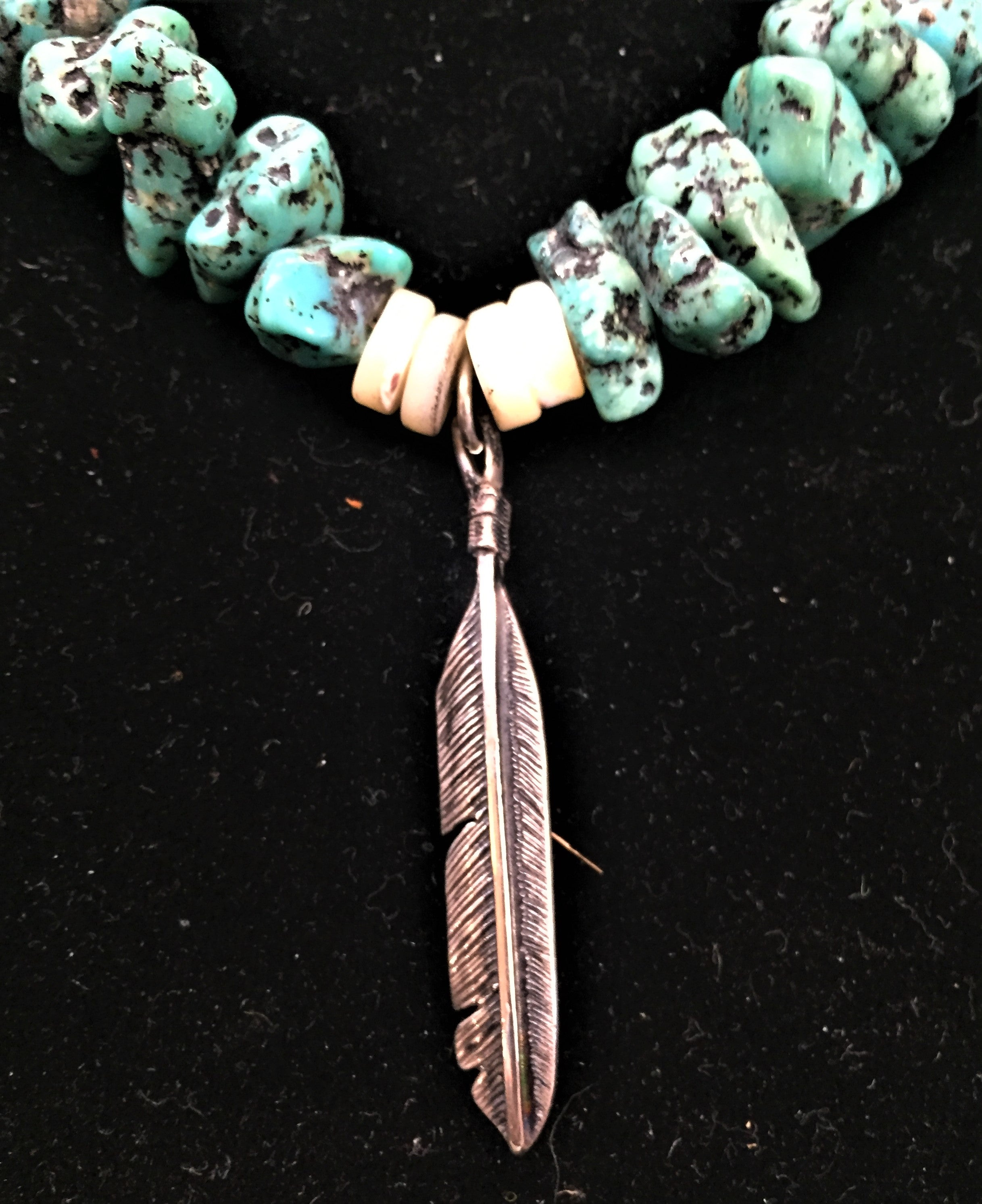 Vintage Classic Turquoise Nugget necklace with sterling cone clasp and sterling feather