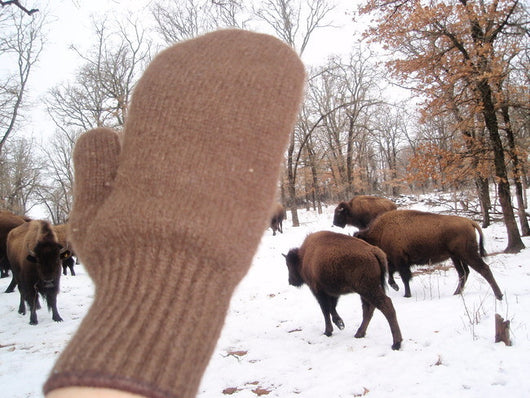 Bison down knit mittens
