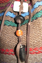 Bison cloth and bison leather purse