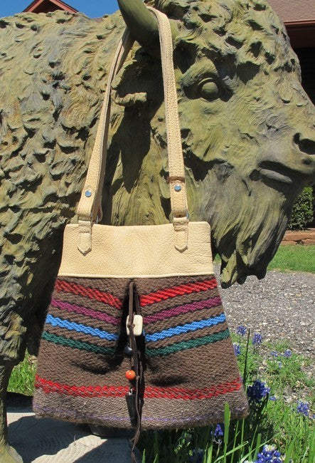 Handwoven Bison Cloth & Bison Leather Purse