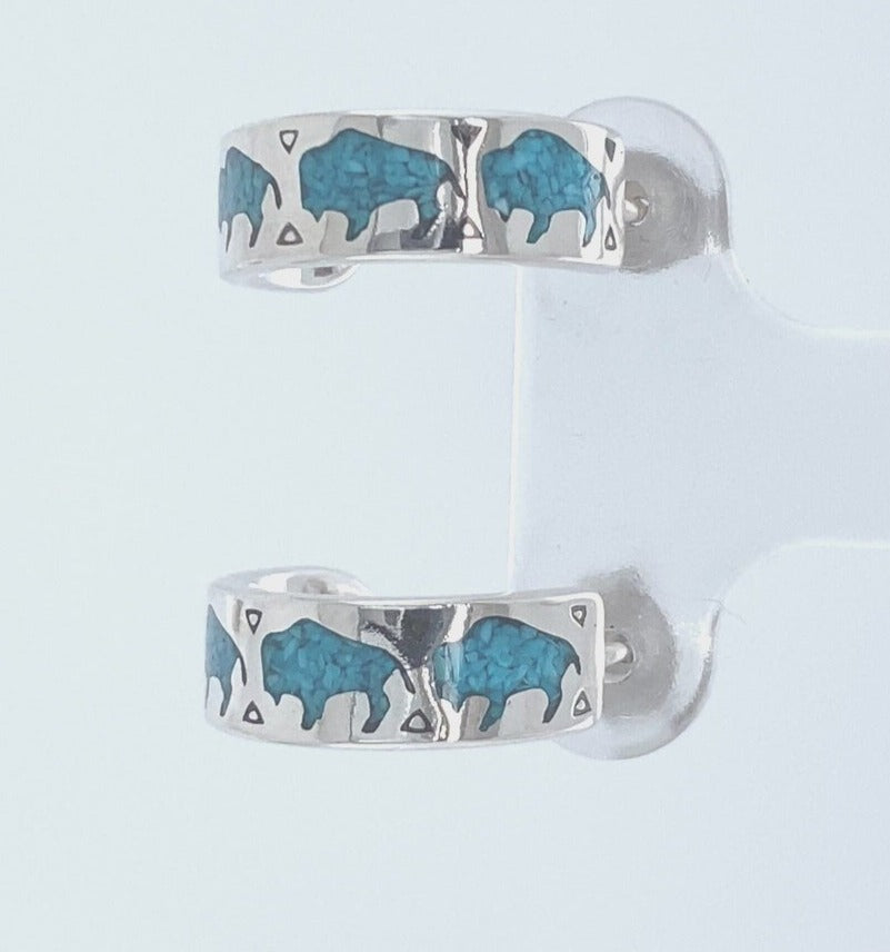 Mainland Silver - bison and stone half hoop earings