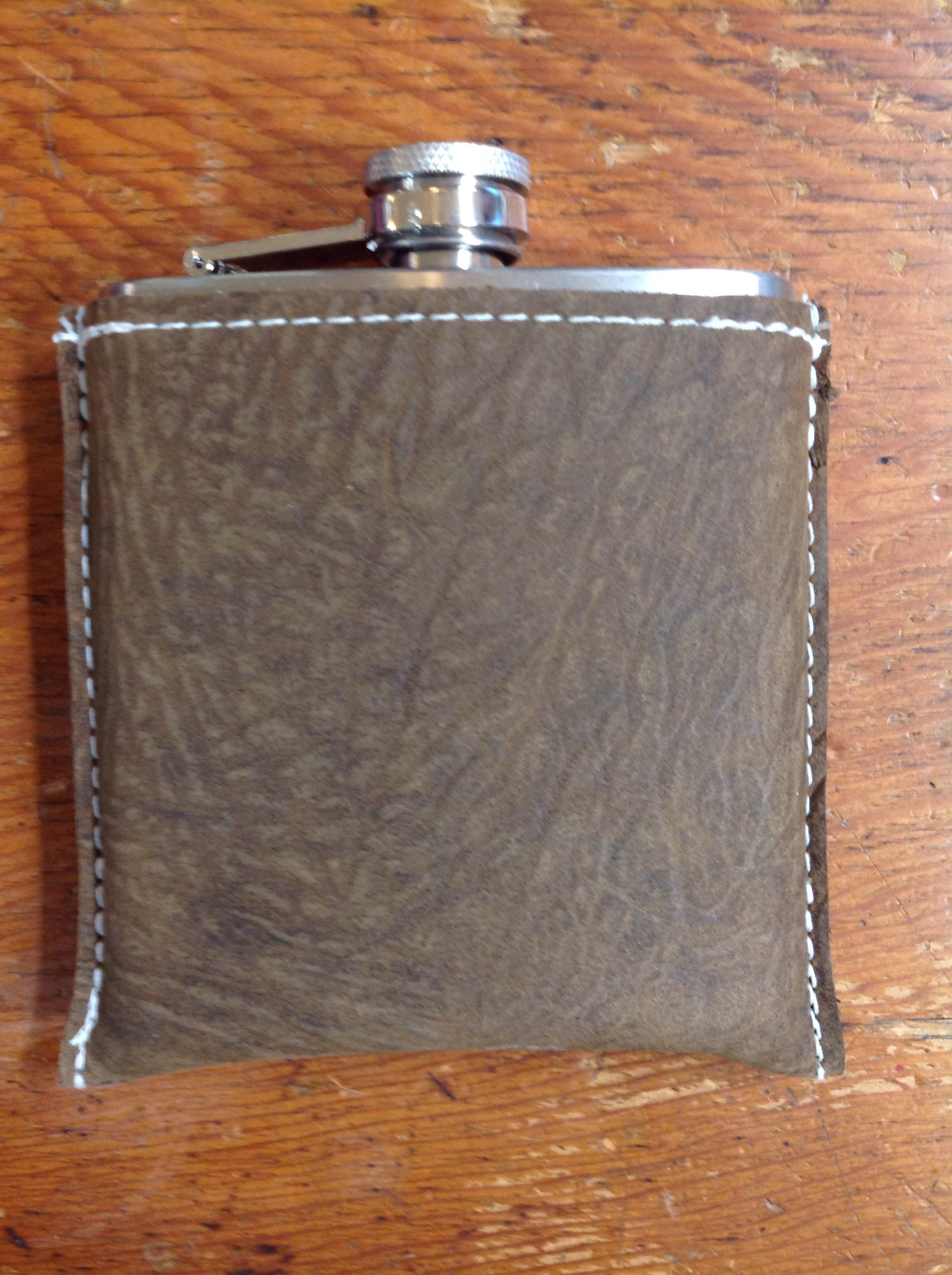 Spears Leather - Flask - bison leather cover over stainless steel