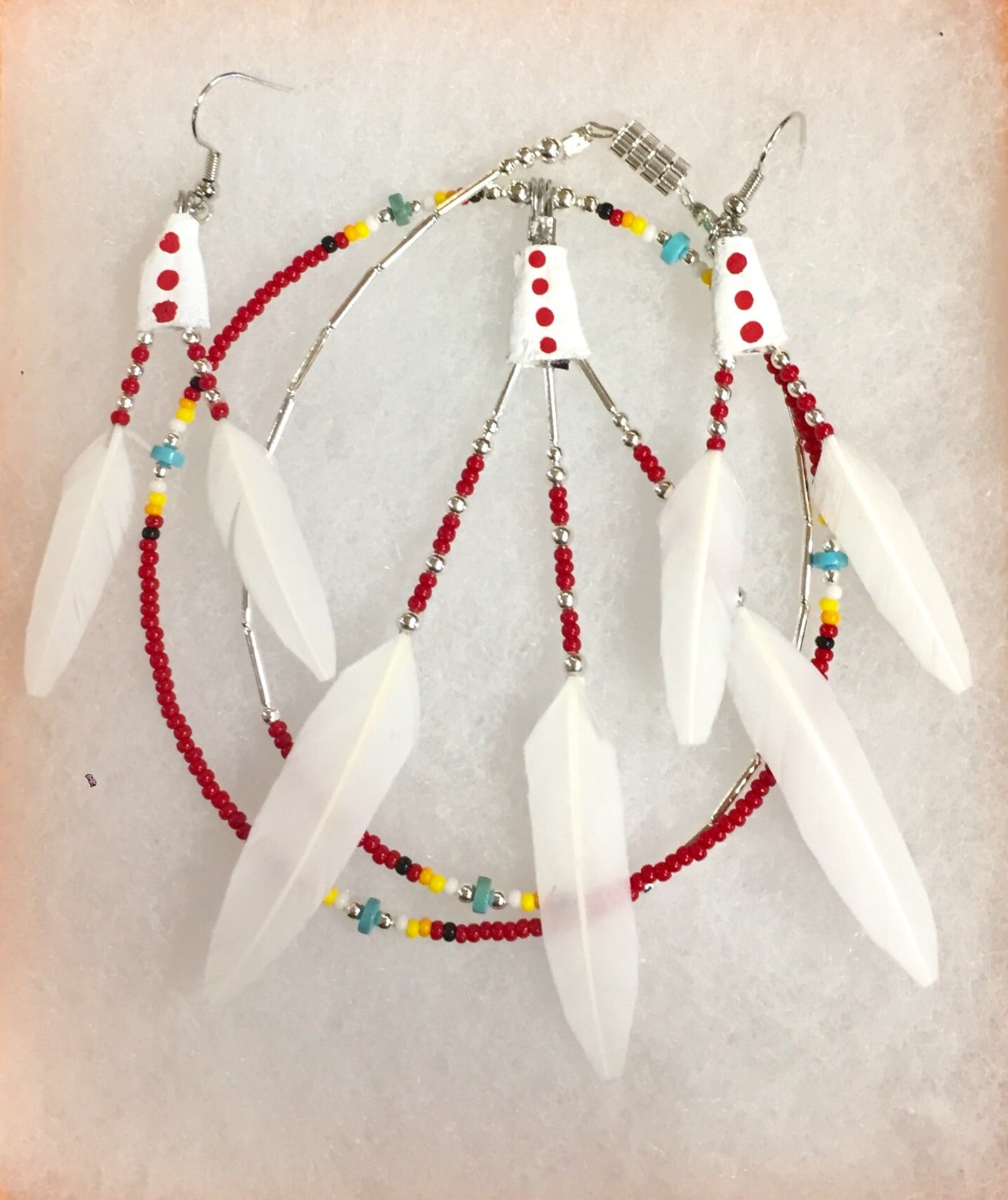 True Navajo Hand Made White Duck Feathers Beaded Necklace and Earrings Sets