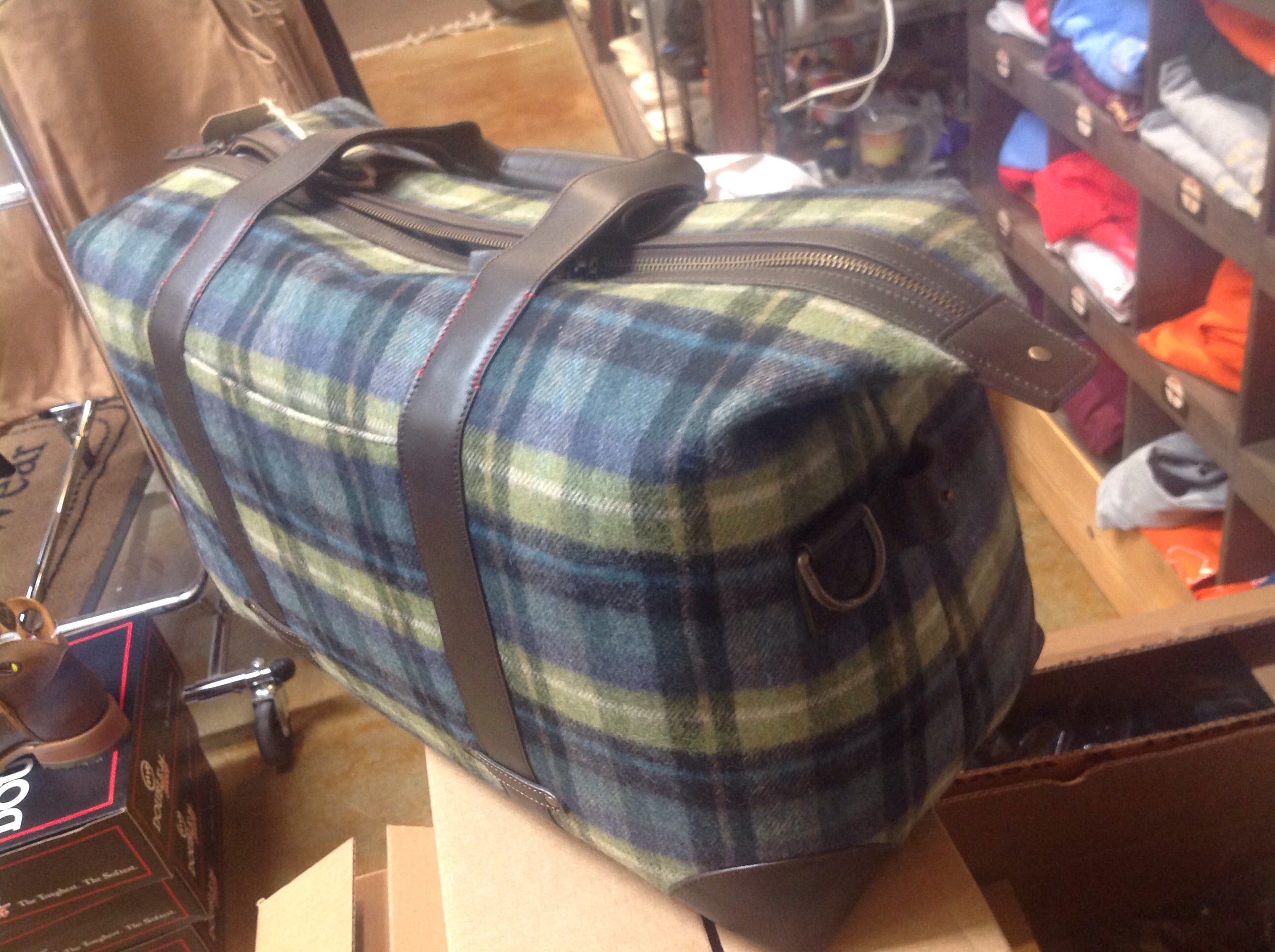 "SALE SALE - Trask ""Jackson"" - Duffle Bag/Travel bag (Blue Plaid only further reduced by $100 to just $190!"