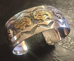 Gold and Sterling Silver Cuff