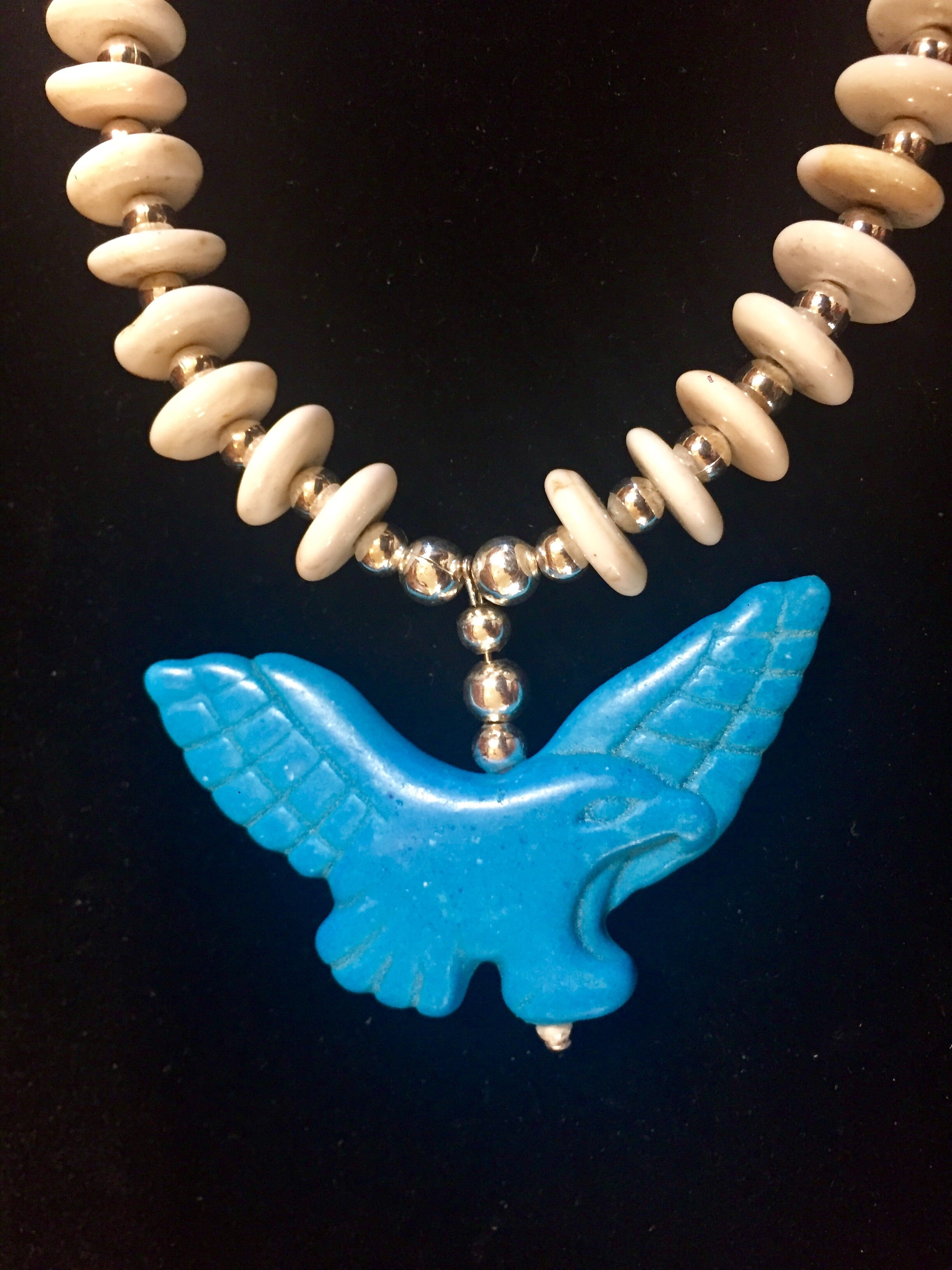 Navajo Necklace with Howlite Eagles