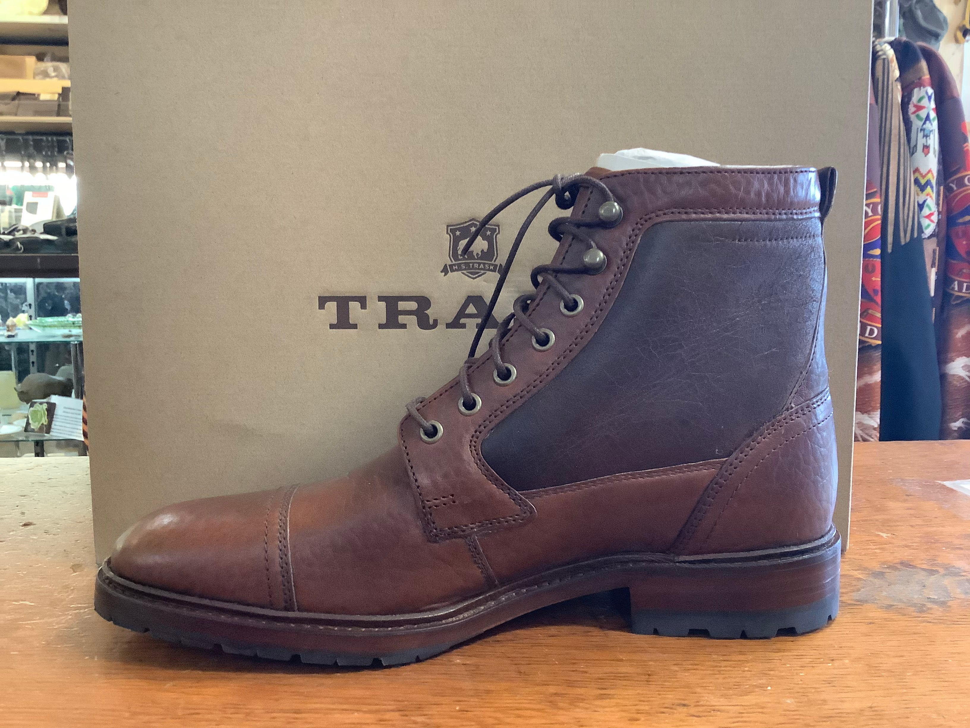 "Trask ""Lowell"" Saddle Tan Bison - shearling lined 3/4 boot for city or country"