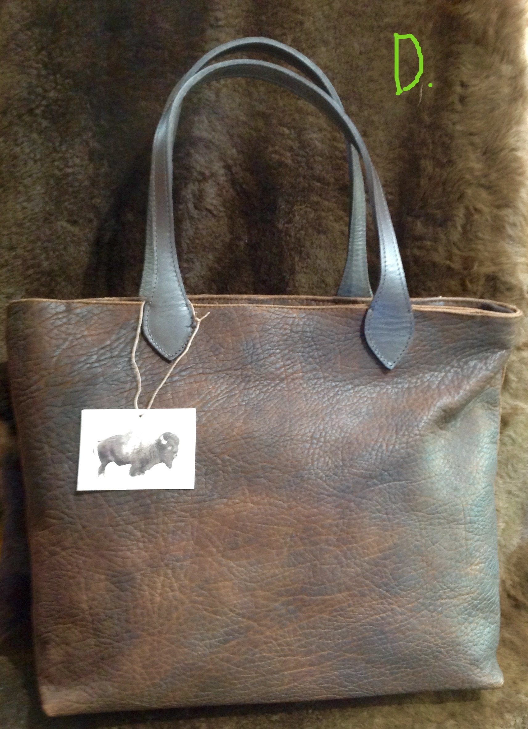 Loma Vista American Bison Leather Large Cibolo Tote Bag / Purse #3000