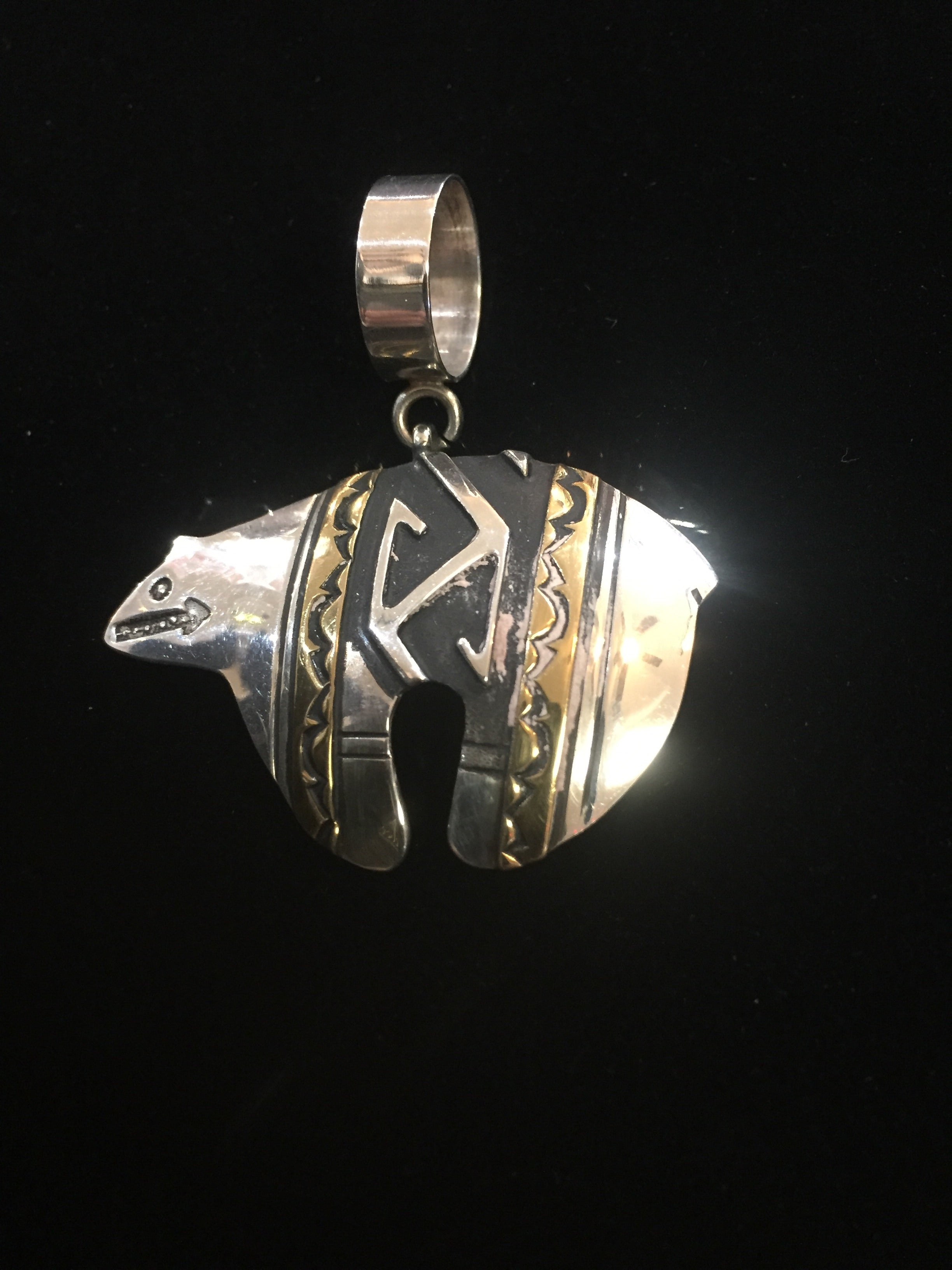 Sterling Silver with Gold Tommy Singer Bear Pendant