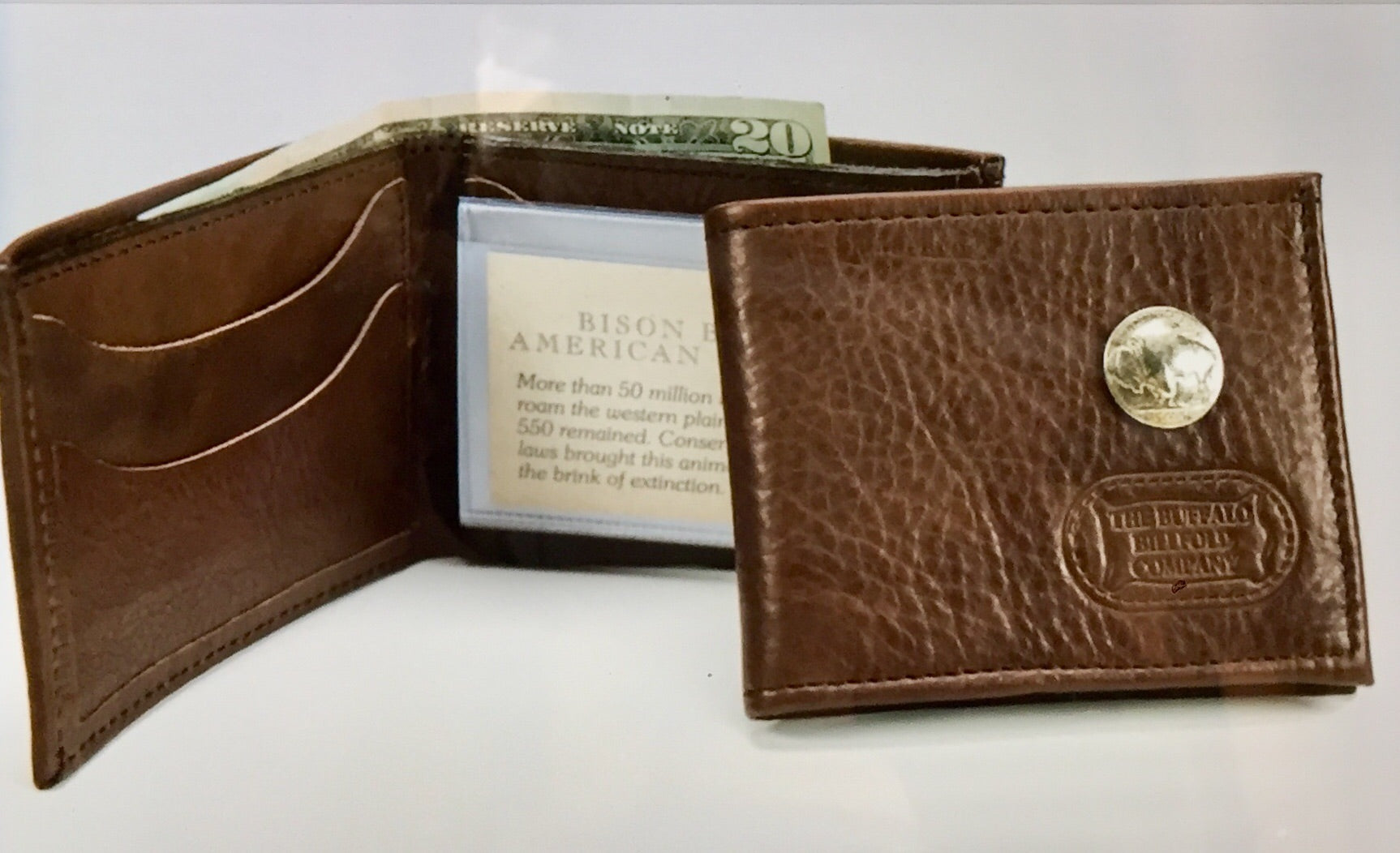 Bifold Bison Wallet / Billfold with Buffalo Nickel