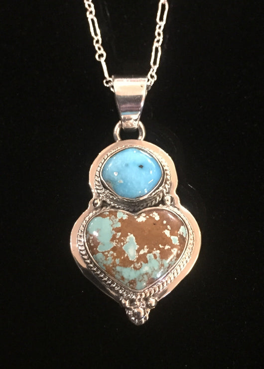 Turquoise Heart and Stone Pendant