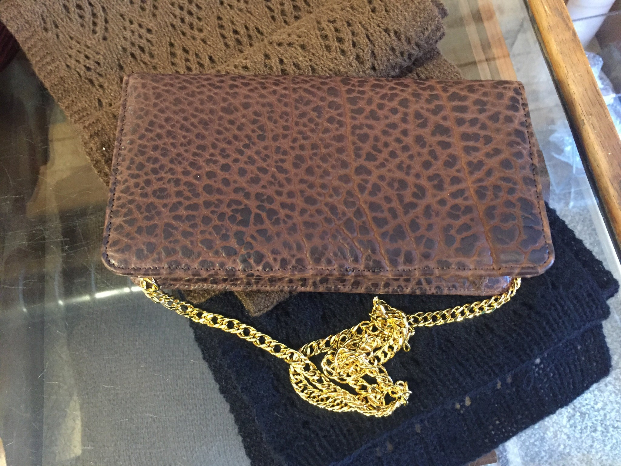 Chacon Bison Leather Clutch Purse
