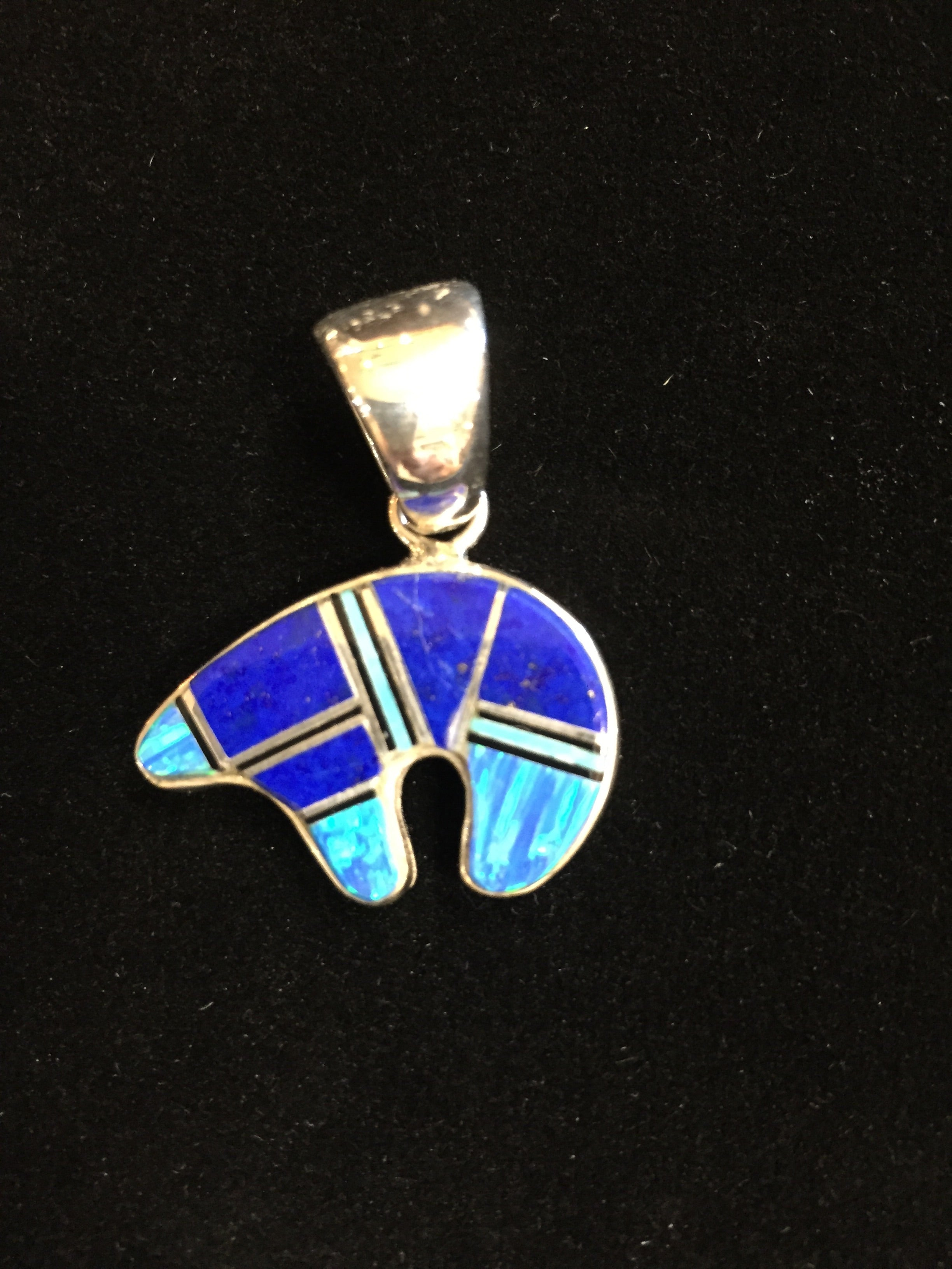 Sterling Silver and Lapis Inlaid Bear Pendant