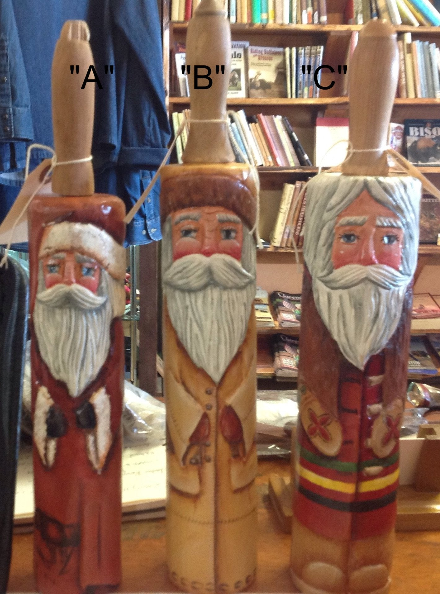 Buffalo Themed Santas ... Hand Carved Antique Rolling Pins from the Santa Smith Sisters of Amarillo, Texas