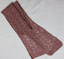Muskox and Silk Mauve Hand Knit Scarf