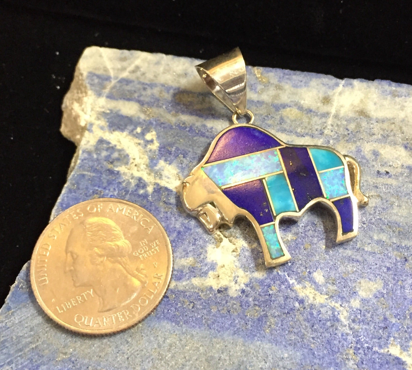 Sterling Silver Bison Inlaid with Opal, Turquoise and Lapis