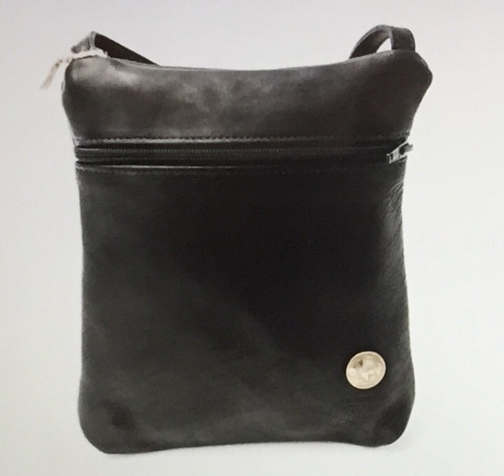 Traveler Bison Leather Purse with Buffalo Nickel