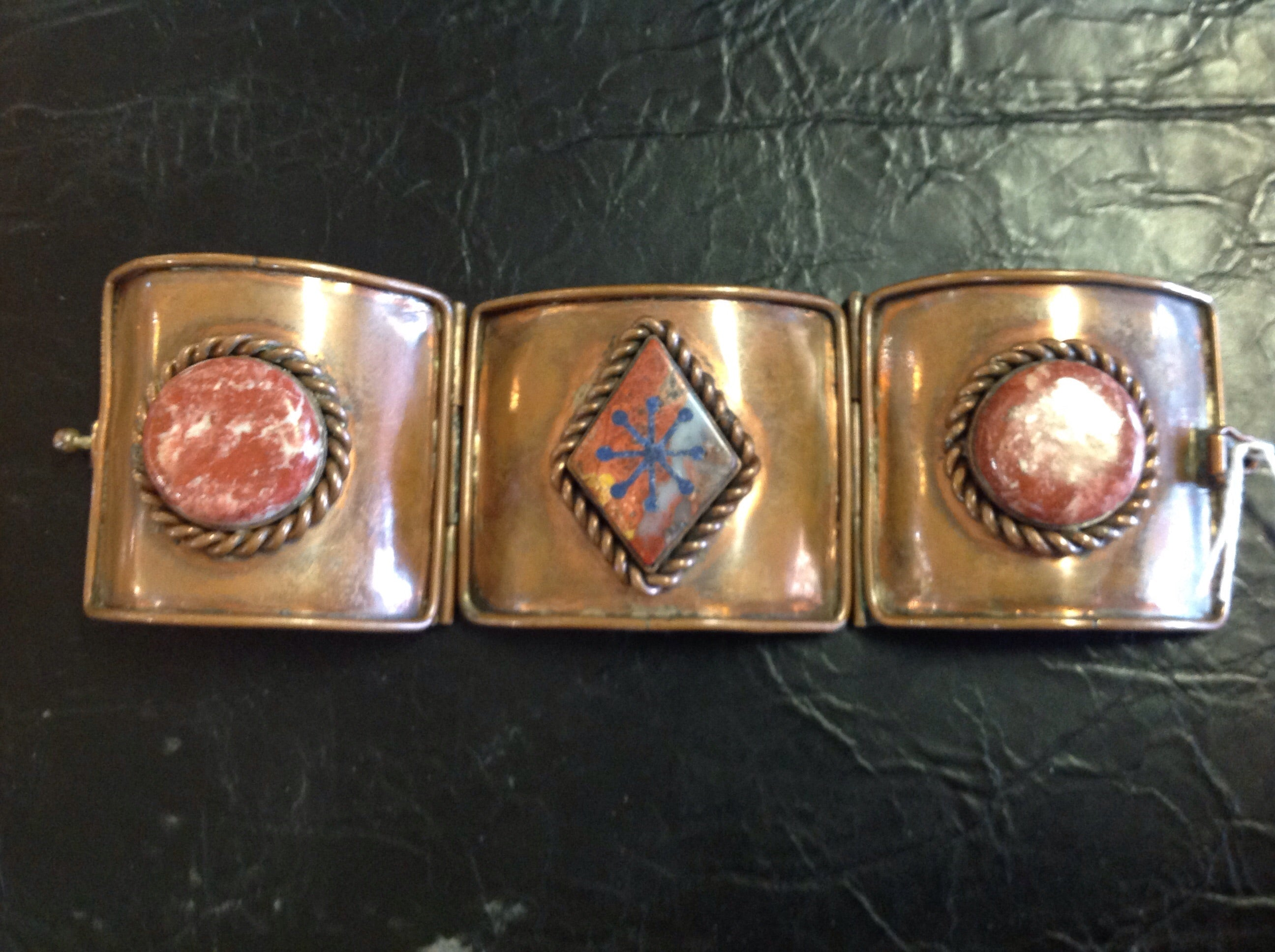 Hand Made Copper Bracelet with Lapis Inlay and Marble