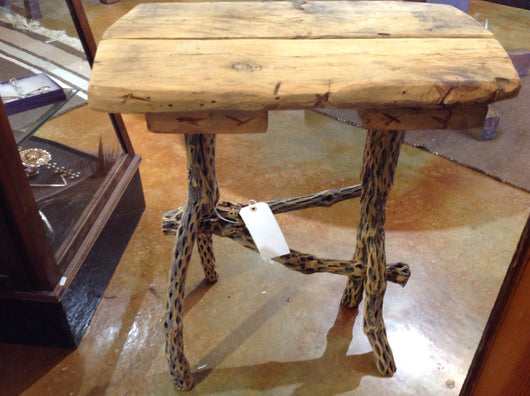 Cholla Cactus and Rough Fir End Table