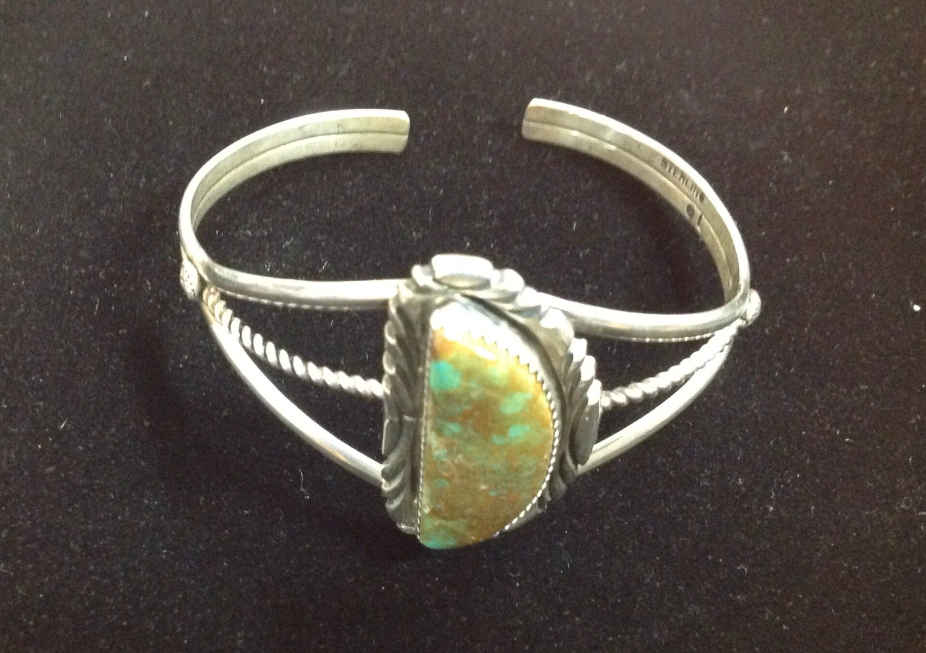 True Royston turquoise in a framed cuff 925 sterling by Gilbert Lee - Navajo